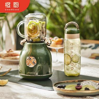 橙厨CHANCOO 榨汁机家用水果小型便携式多功能双杯复古设计高颜值